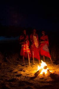 Masai by the fire. African Safari 2012- Tanzania, Photograph by Stephen Powell wildlife Artist and Photographer