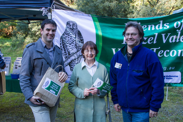 Stephen Powell wildlife artists powerful owl drawing on banner for Friends of Hazel Vale Valley