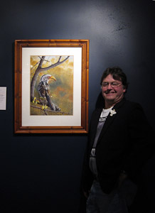 Stephen Powell Wildlife Artist at OPEN STUDIOS EXHIBITION opening, Yellow-billed Hornbill painting oil